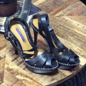 Ralph Lauren Collection black platform sandal